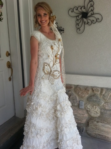 LDS Woman Finds Answer to Prayers Creating Modest Wedding Dresses from Toilet Paper