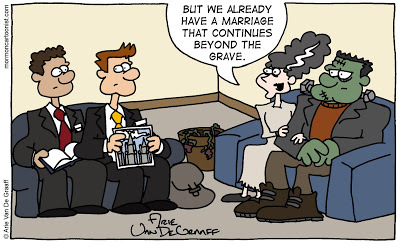 Funny LDS Missionary Comic with the Frankensteins by Arie Van De Graaff
