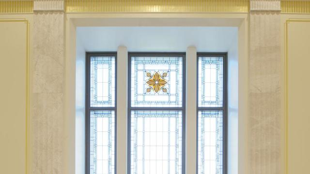 Stained glass in the Tucson Arizona Temple.