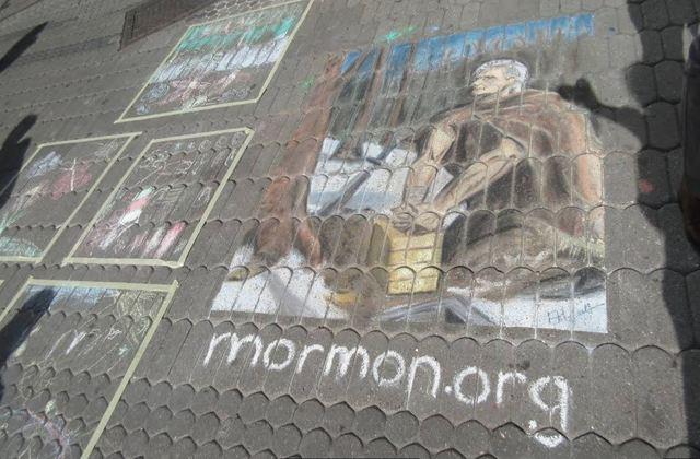 Moroni Mormon Chalk Art in Germany