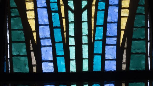 Artistic glass in the Jordan River Utah Temple.