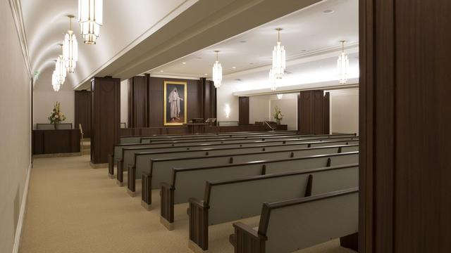 The chapel in the Jordan River Utah Temple.