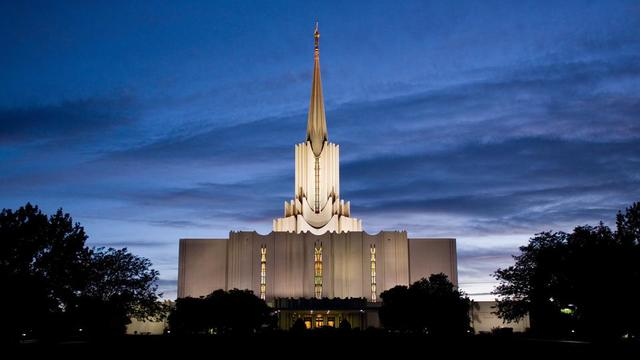 The Jordan River Utah Temple at night.
