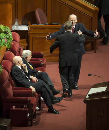 Image titleElder Cook and Elder Holland. Image from Deseret News.