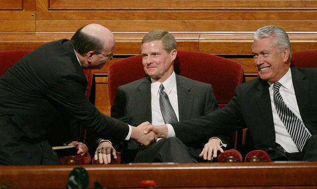 Image titleElder Cook, Elder Bednar, and Elder Uchtdorf. Image from Deseret News.