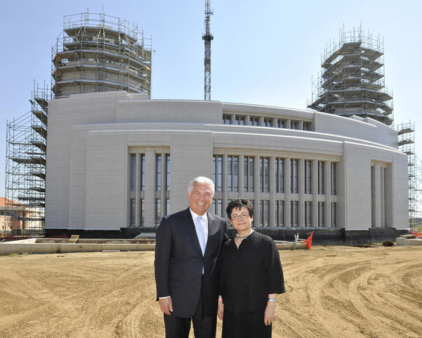 Elder and Sister Uchtdorf outside the Rome Italy Temple