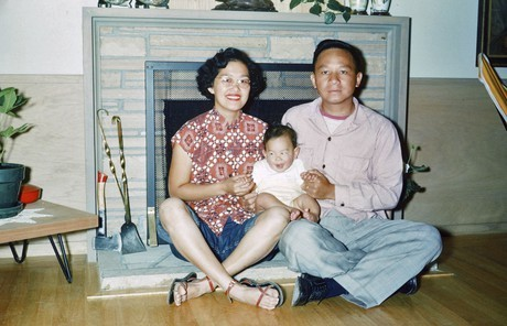 Elder Gerrit W Gong as a baby with parents