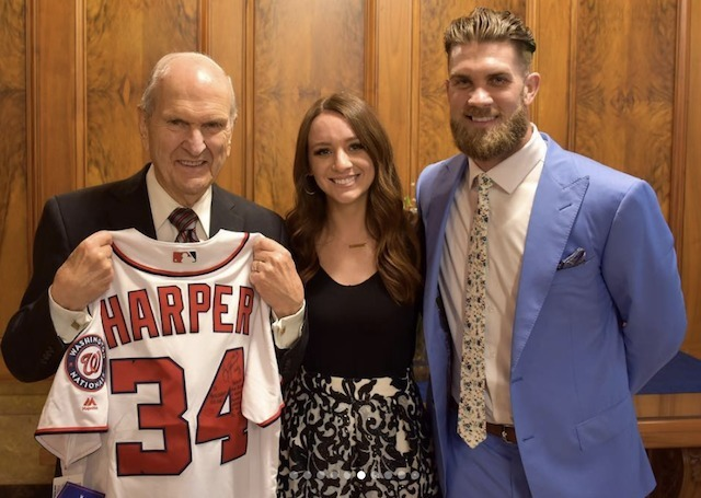LDS baseball player Bryce Harper with President Russell M Nelson