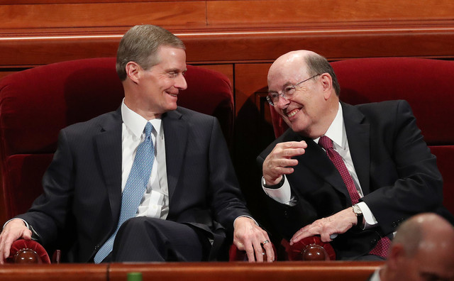 Elder Bednar and Elder Cook during the October 2018 General Conference