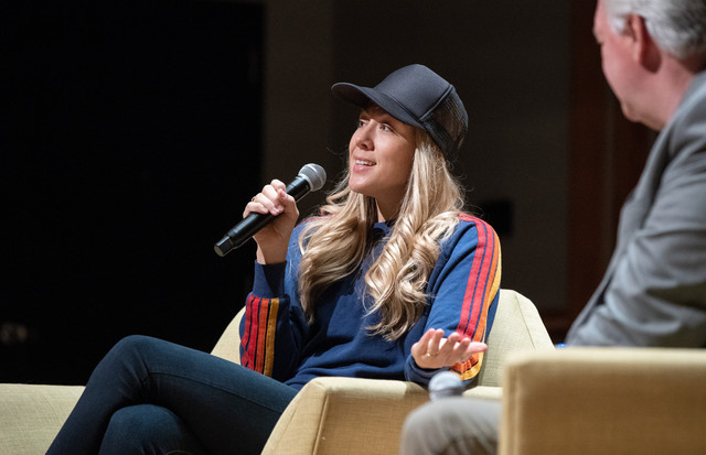 Colbie Callait speaks to students at BYU