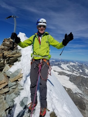Nile Sorenson, a patriarch for The Church of Jesus Christ of Latter-day Saints, on top of the Matterhorn