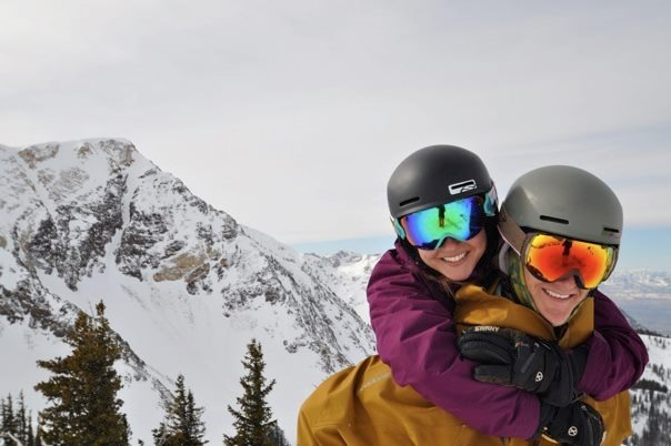 Taylor and Brenda Richards, members of The Church of Jesus Christ of Latter-day Saints, on the ski slopes.