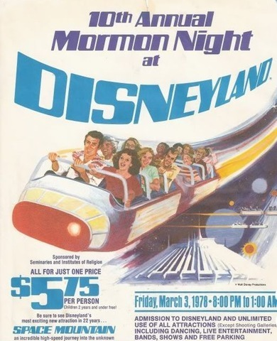 Poster for Mormon Night at Disneyland