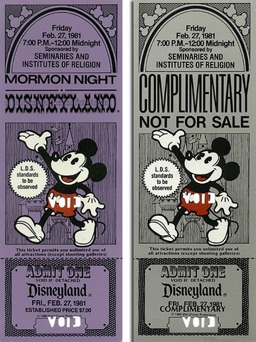 Admission ticket for Mormon Night at Disneyland