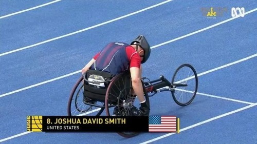 Retired Air Force Tech. Sgt. Joshua D. Smith rides the recumbent bike during a cycling event at the 2018 Invictus Games in Australia in October.