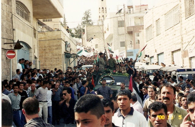 Demonstration in Beit Sahour after a Palestinian was killed in 2000.
