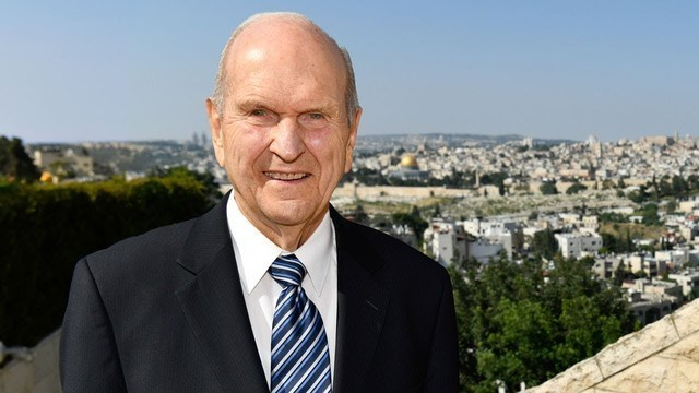 President Russell M. Nelson overlooking Jerusalem as he testifies of Christ.