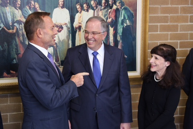 Elder and Sister Andersen with Tony Abbott, former prime minister of Australia.
