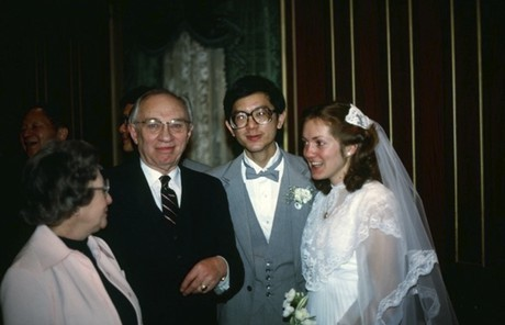 Elder and Sister Gong with President Hinckley on their wedding day