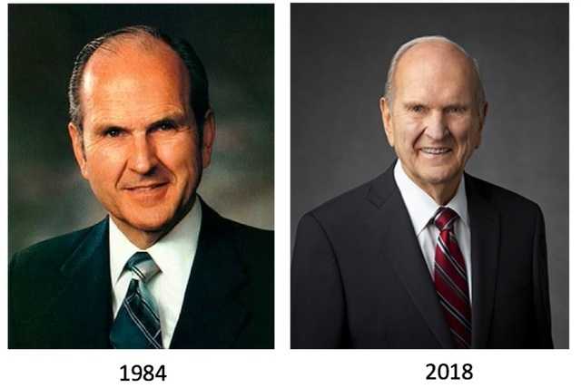 President Nelson as an apostle in 1984 and as a prophet in 2018