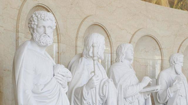 Statues of the apostles of the Lord Jesus Christ in the Rome Italy Temple Visitors' Center.