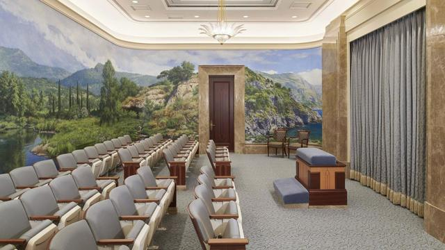 An instruction room in the Rome Italy Temple.