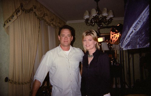 Jane Clayson Johnson with actor Tom Hanks.