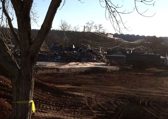 The former St. George East stake center is demolished.