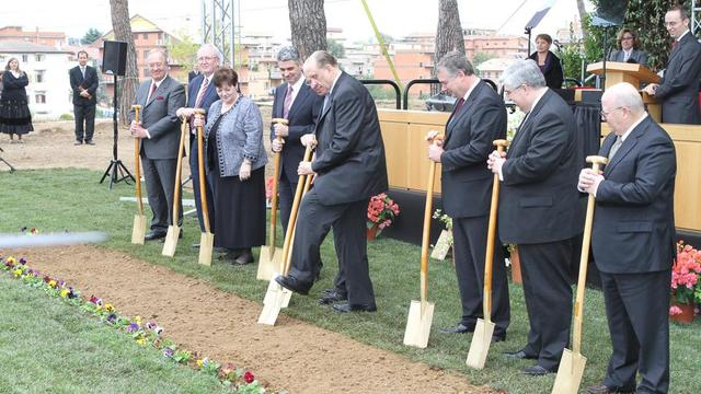 President Monson breaking ground for the Rome Italy Temple