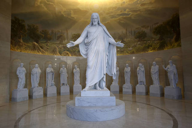 The statues in the Rome Italy Temple Visitors' Center