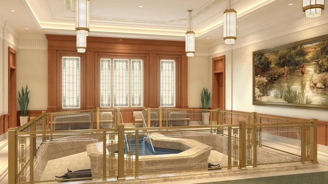 A rendering of the Pocatello Idaho Temple baptistry.