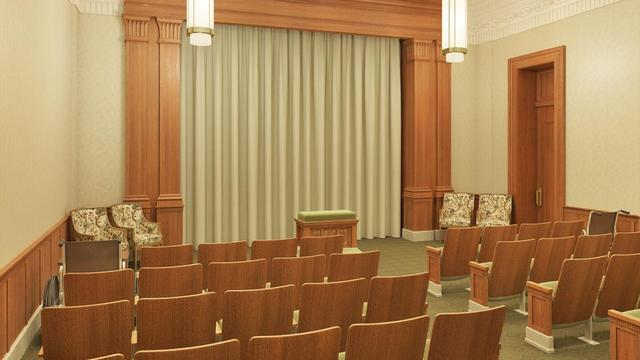 A rendering of an endowment room in the Pocatello Idaho Temple.
