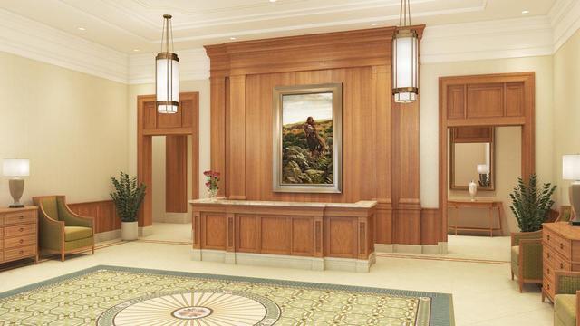 A rendering of the Pocatello Idaho Temple lobby.