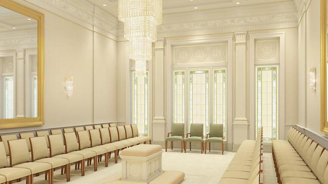 A rendering of a sealing room in the Pocatello Idaho Temple.