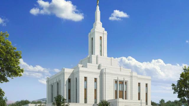 A rendering of the Pocatello Idaho Temple exterior