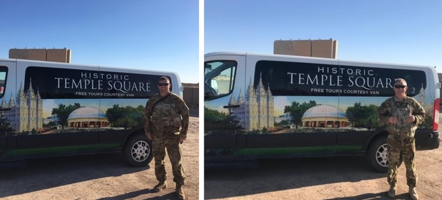 Capt. Mark Kattelman (left) and Chief Warrant Officer 3 Tyler Hobbs (right) with the Temple Square van in Iraq. Images courtesy of Mark Kattelman.