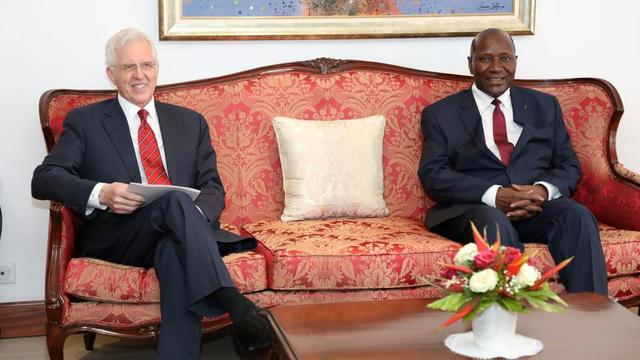 Elder D. Todd Christofferson of the Quorum of the Twelve Apostles with Daniel Kablan Duncan, the vice president of the Republic of Côte d'Ivoire, at the presidential palace in Abidjan.