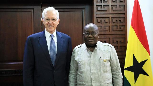 Elder D. Todd Christofferson of the Quorum of the Twelve Apostles with H. E. Nana Addo Dankwa Akufo-Addo, president of the Republic of Ghana.