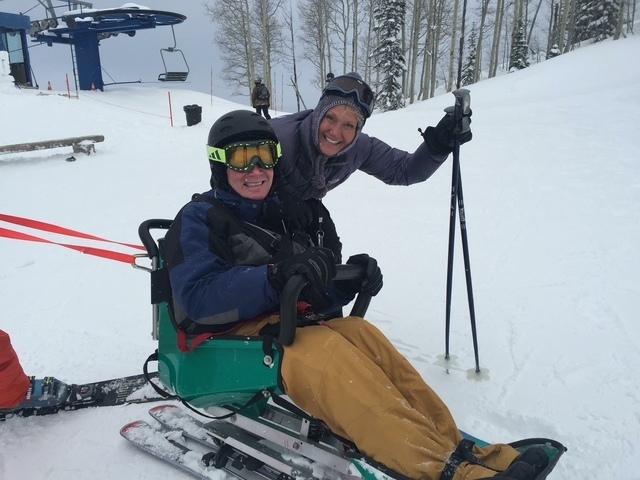 Alan Alderman skiing after being diagnosed with ALS