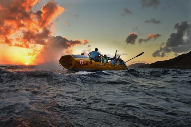 The Row4ALS team on the Atlantic Ocean
