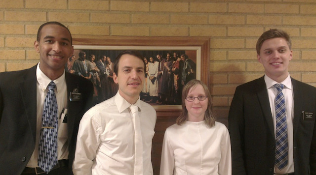 Persson on the day she was baptized a member of The Church of Jesus Christ of Latter-day Saints