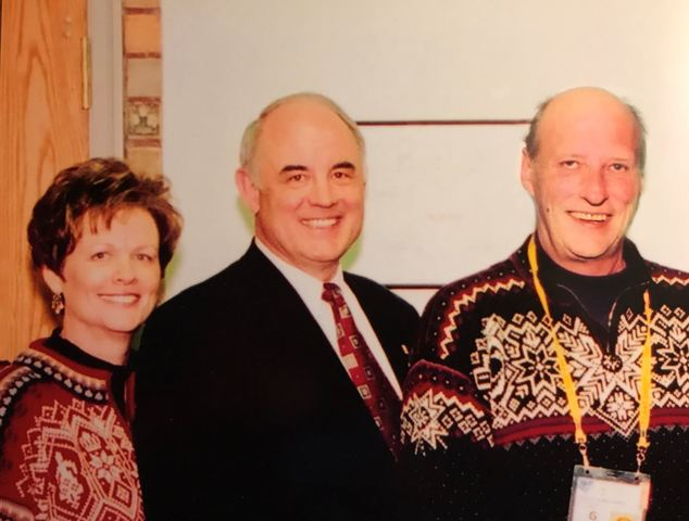 Erlend and Colleen Peterson with His Majesty King Harald at the Salt Lake City Winter Olympics in 2002. Image courtesy of Erlend Peterson.