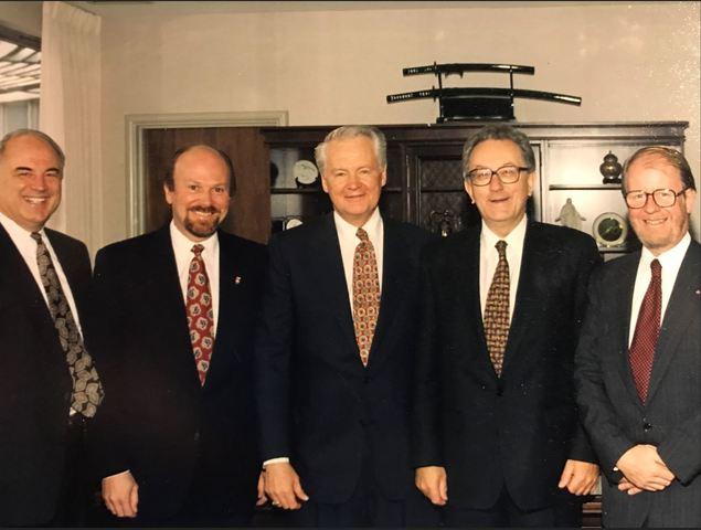 Erlend Peterson on the day he was knighted. From left to right: Erlend Peterson; Utah Honorary Consul for Norway, Leif Andersen; BYU President Merrill Bateman; Norwegian Ambassador Tom Vraalsen; Norwegian Consul General Hans Ola Urstad.