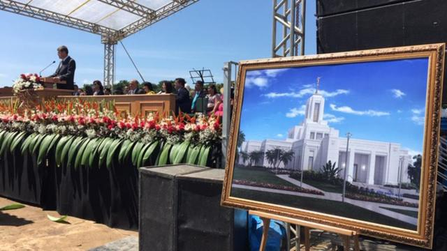 Elder Marcos A. Aidukaitis of the Seventy presides at the Belém Brazil Temple on Saturday, August 17, 2019. The temple rendering is displayed at the right.