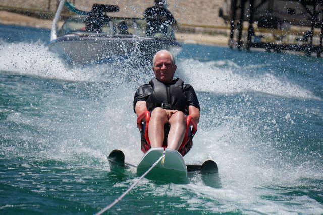 President Bingham in his sit-ski