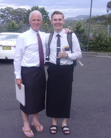Missionary Drew Dunshee with President Bingham