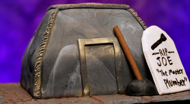 Peter Tidwell's tomb cake. Image a screenshot for Food Network's Halloween Baking Championship.