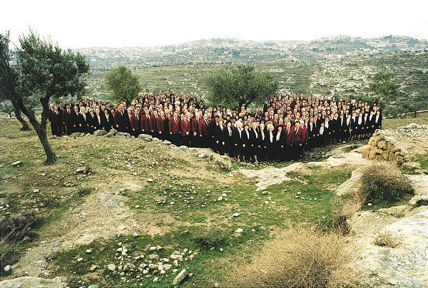 The Mormon Tabernacle Choir sings in picturesque Shepherds' Field near Bethlehem, in the West Bank, in 1992.