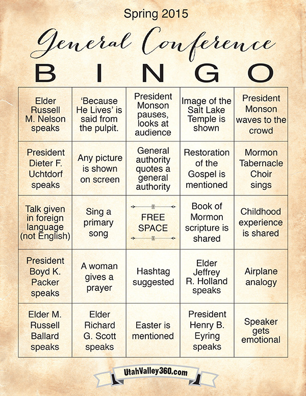 Free General Conference Bingo Cards For April 2015 Lds Living