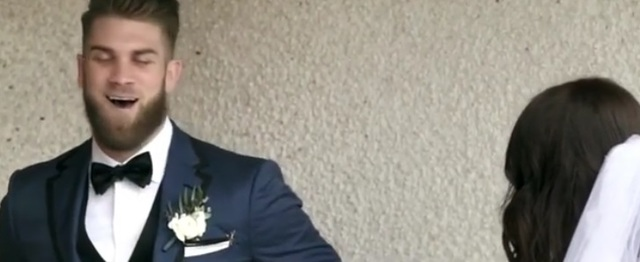 Bryce Harper Wedding.Viral Video You Ve Got To See Bryce Harper S Reaction To Seeing His